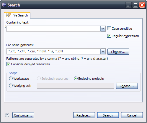 Eclipse search dialog